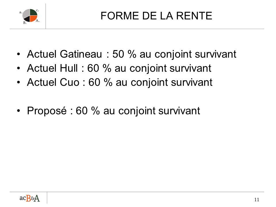 FORME DE LA RENTE Actuel Gatineau : 50 % au conjoint survivant. Actuel Hull : 60 % au conjoint survivant.