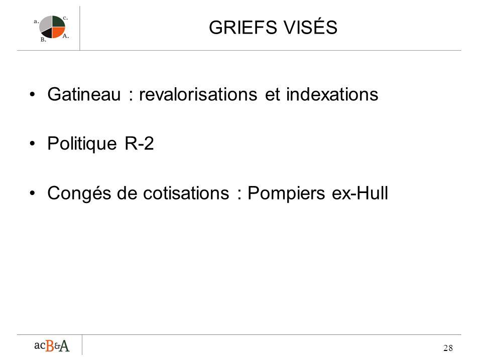 GRIEFS VISÉS Gatineau : revalorisations et indexations.