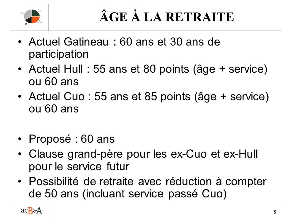 ÂGE À LA RETRAITE Actuel Gatineau : 60 ans et 30 ans de participation