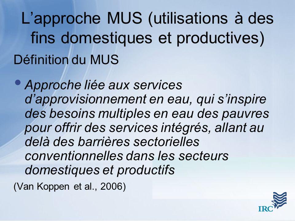 L'approche MUS (utilisations à des fins domestiques et productives)