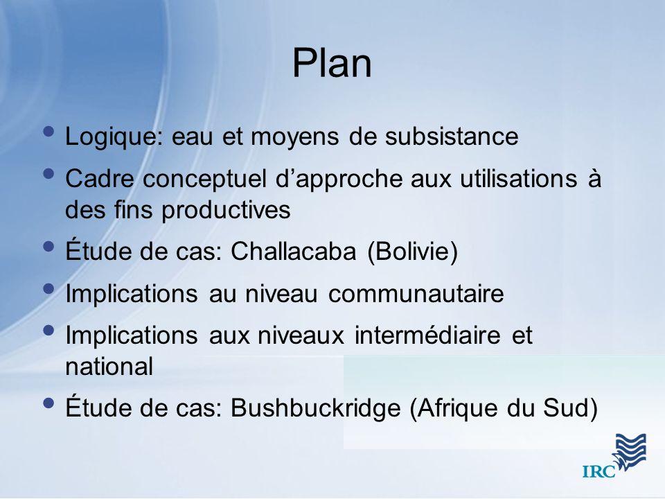 Plan Logique: eau et moyens de subsistance
