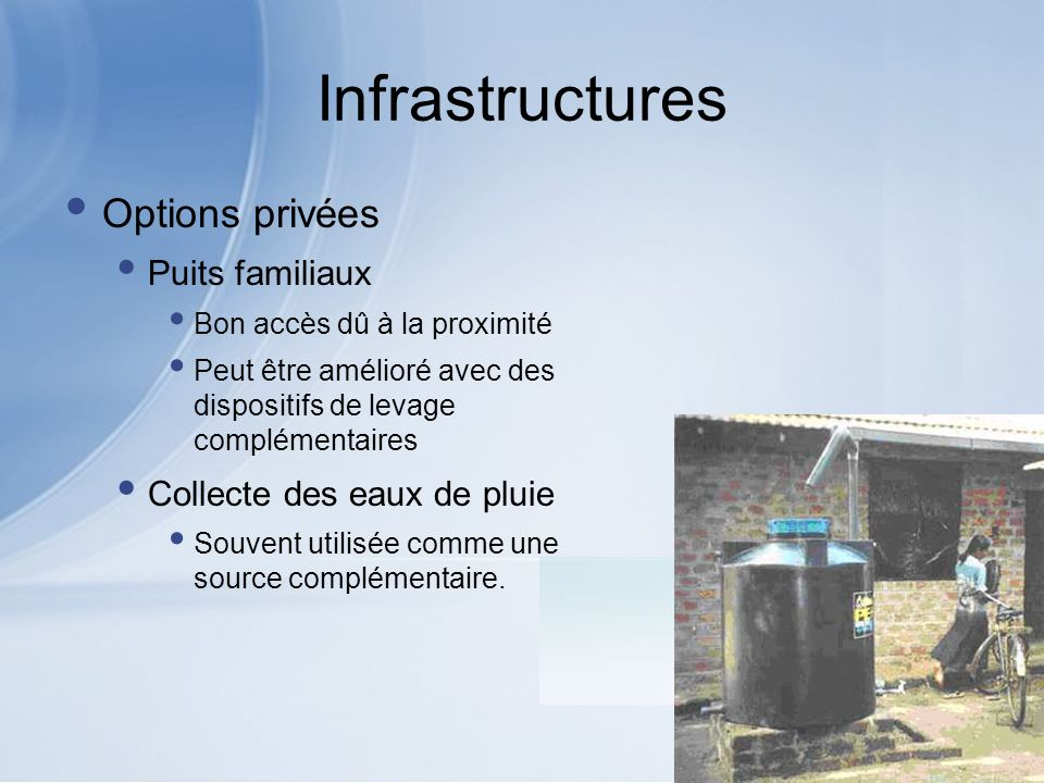 Infrastructures Options privées Puits familiaux