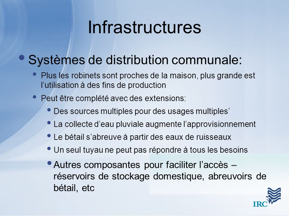 Infrastructures Systèmes de distribution communale: