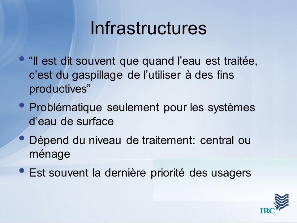 Infrastructures Il est dit souvent que quand l'eau est traitée, c'est du gaspillage de l'utiliser à des fins productives