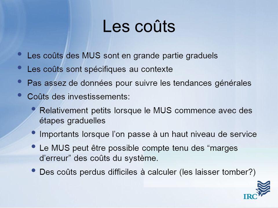 Les coûts Les coûts des MUS sont en grande partie graduels
