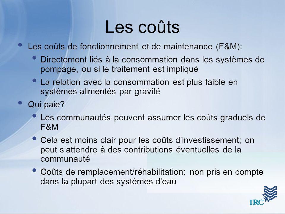 Les coûts Les coûts de fonctionnement et de maintenance (F&M):