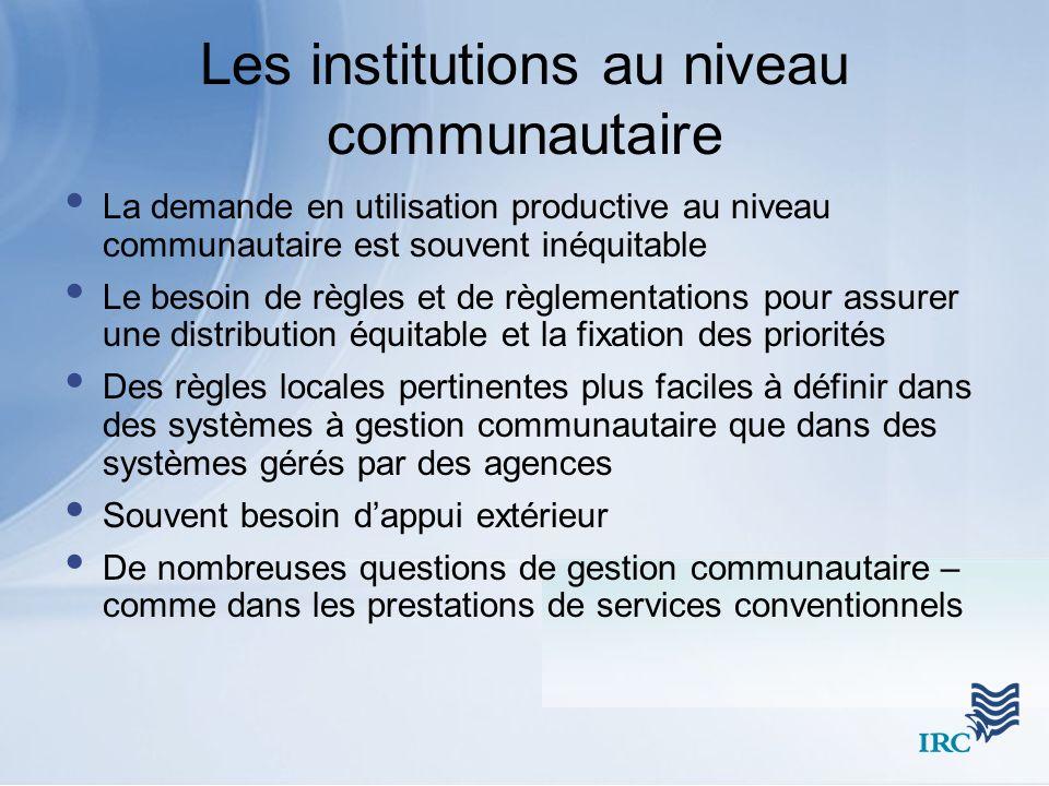 Les institutions au niveau communautaire