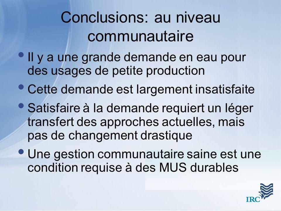 Conclusions: au niveau communautaire