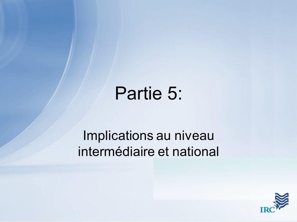 Implications au niveau intermédiaire et national