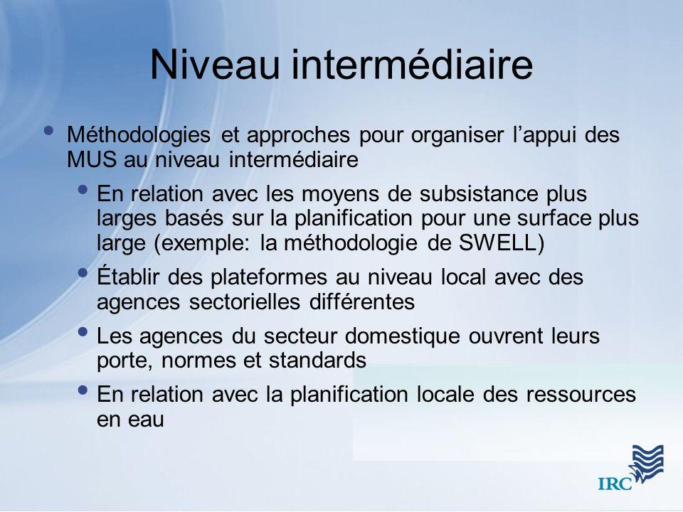 Niveau intermédiaire Méthodologies et approches pour organiser l'appui des MUS au niveau intermédiaire.