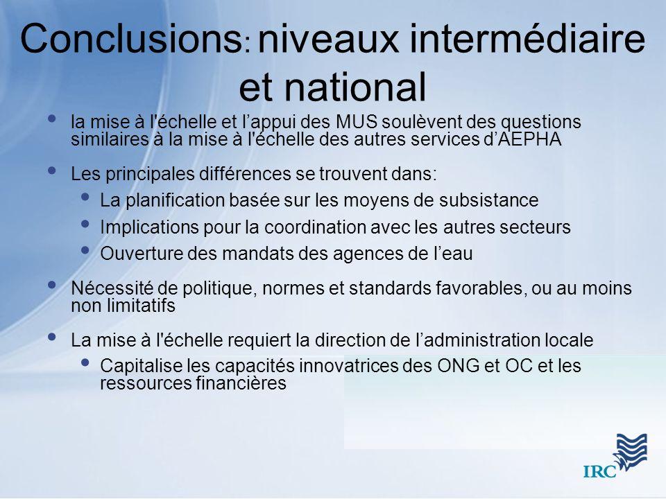 Conclusions: niveaux intermédiaire et national