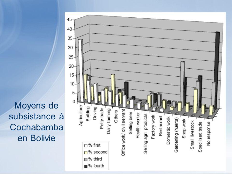 Moyens de subsistance à Cochabamba en Bolivie