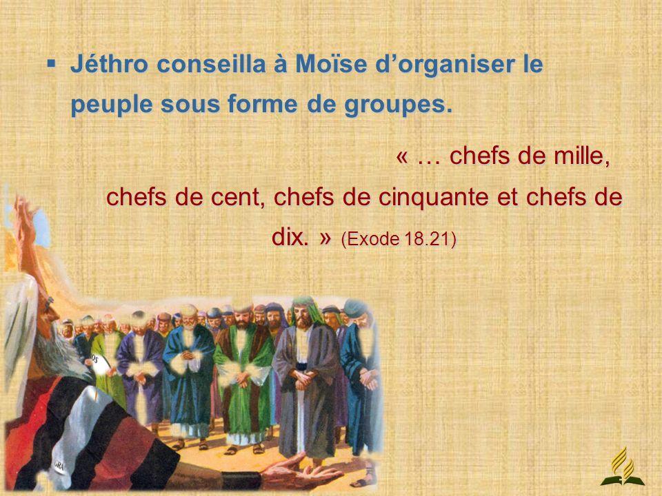 Jéthro conseilla à Moïse d'organiser le peuple sous forme de groupes.