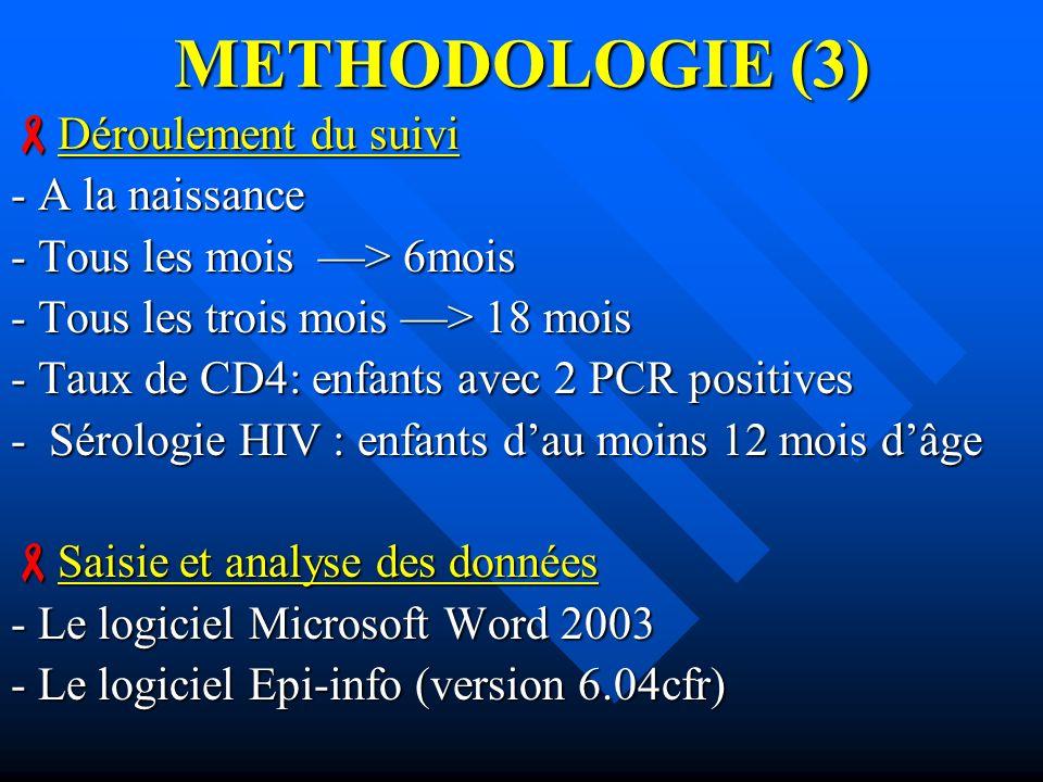 METHODOLOGIE (3) Déroulement du suivi - A la naissance