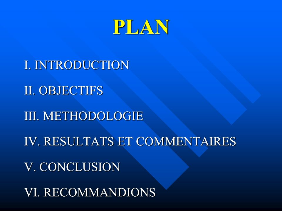 PLAN I. INTRODUCTION II. OBJECTIFS III. METHODOLOGIE