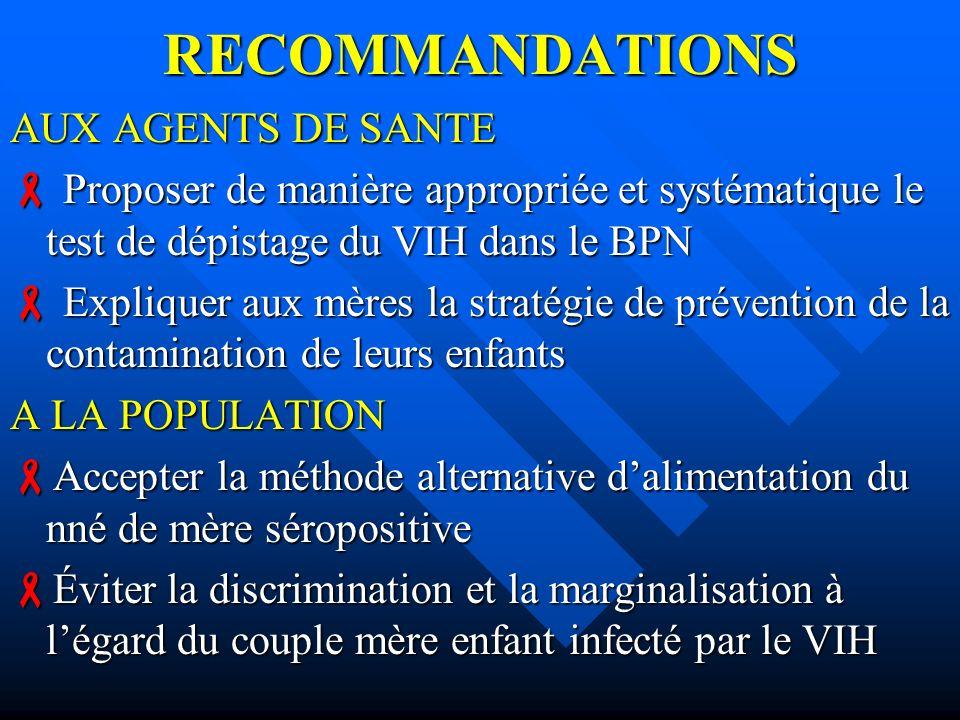 RECOMMANDATIONS AUX AGENTS DE SANTE