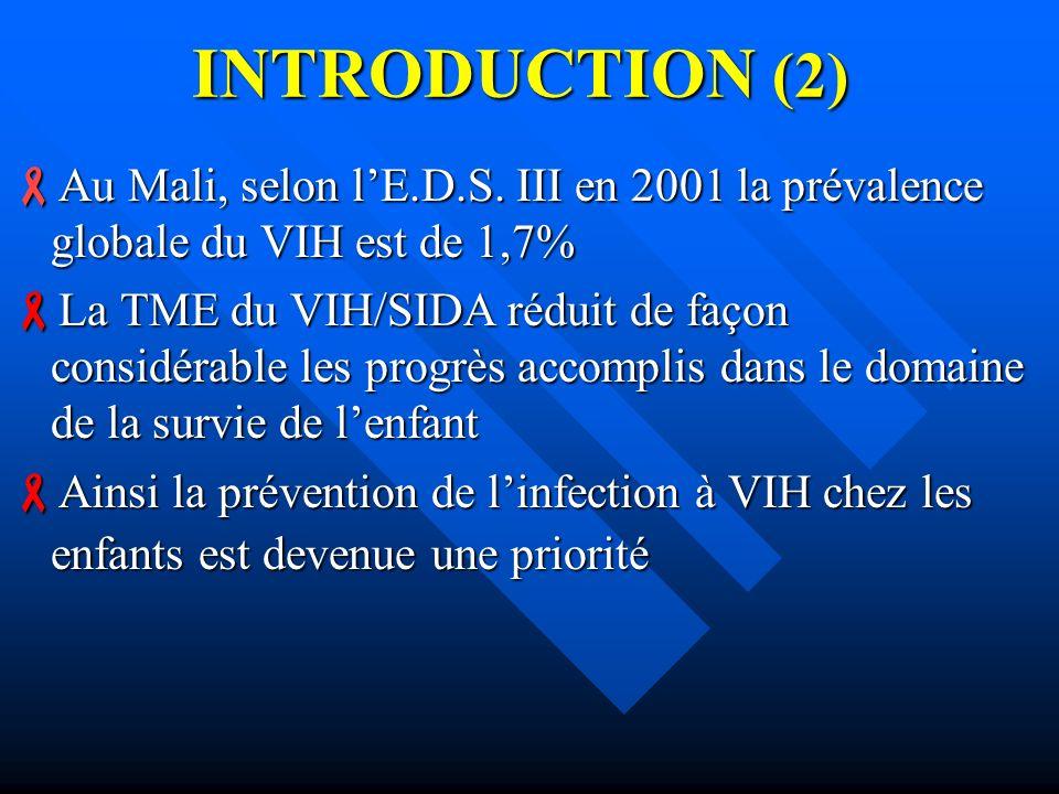INTRODUCTION (2) Au Mali, selon l'E.D.S. III en 2001 la prévalence globale du VIH est de 1,7%