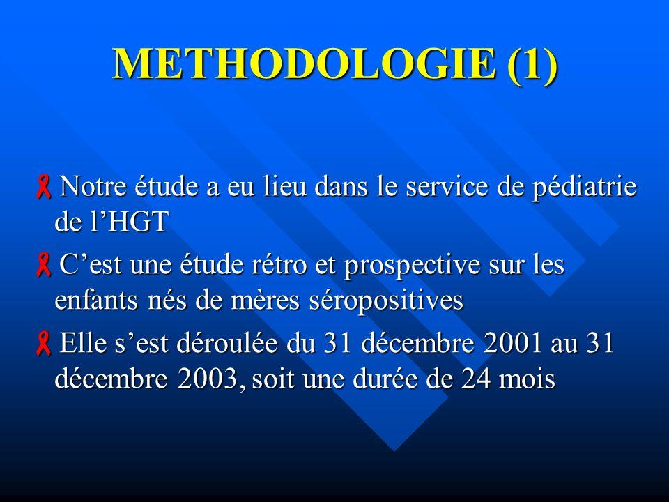 METHODOLOGIE (1) Notre étude a eu lieu dans le service de pédiatrie de l'HGT.