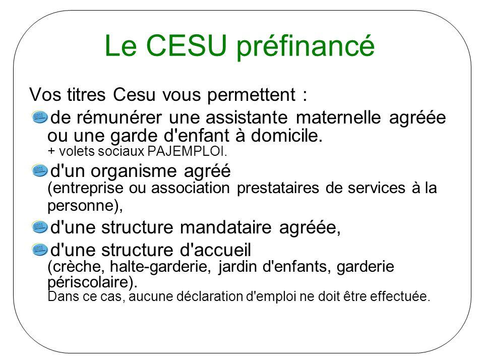 Le CESU préfinancé Vos titres Cesu vous permettent :