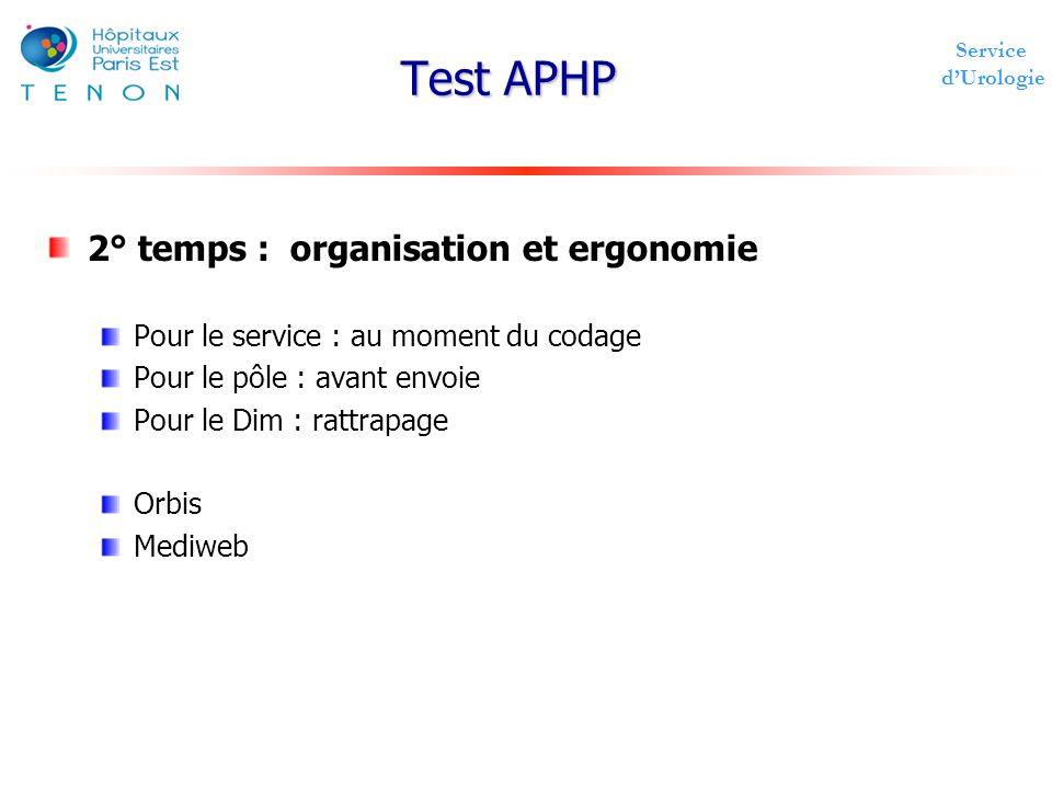 Test APHP 2° temps : organisation et ergonomie