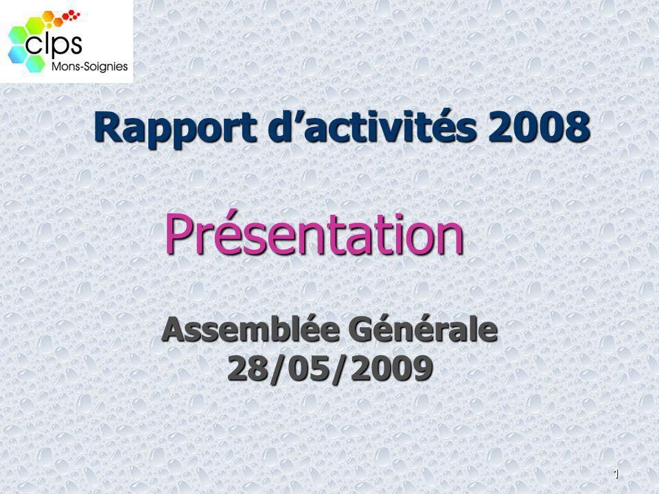 Rapport d'activités 2008 Présentation Assemblée Générale 28/05/2009