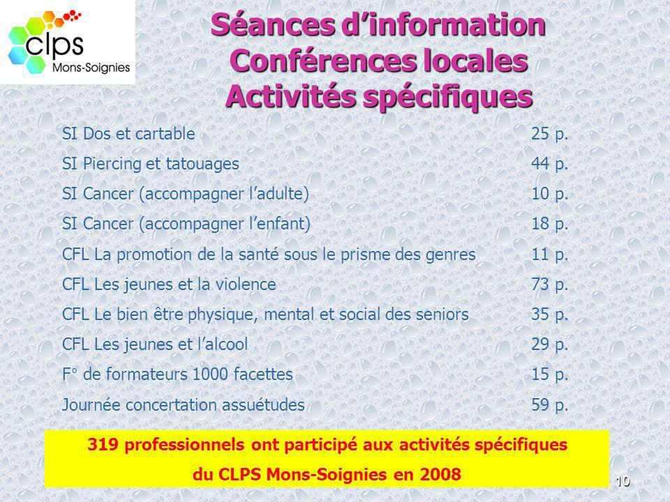 Séances d'information Conférences locales Activités spécifiques