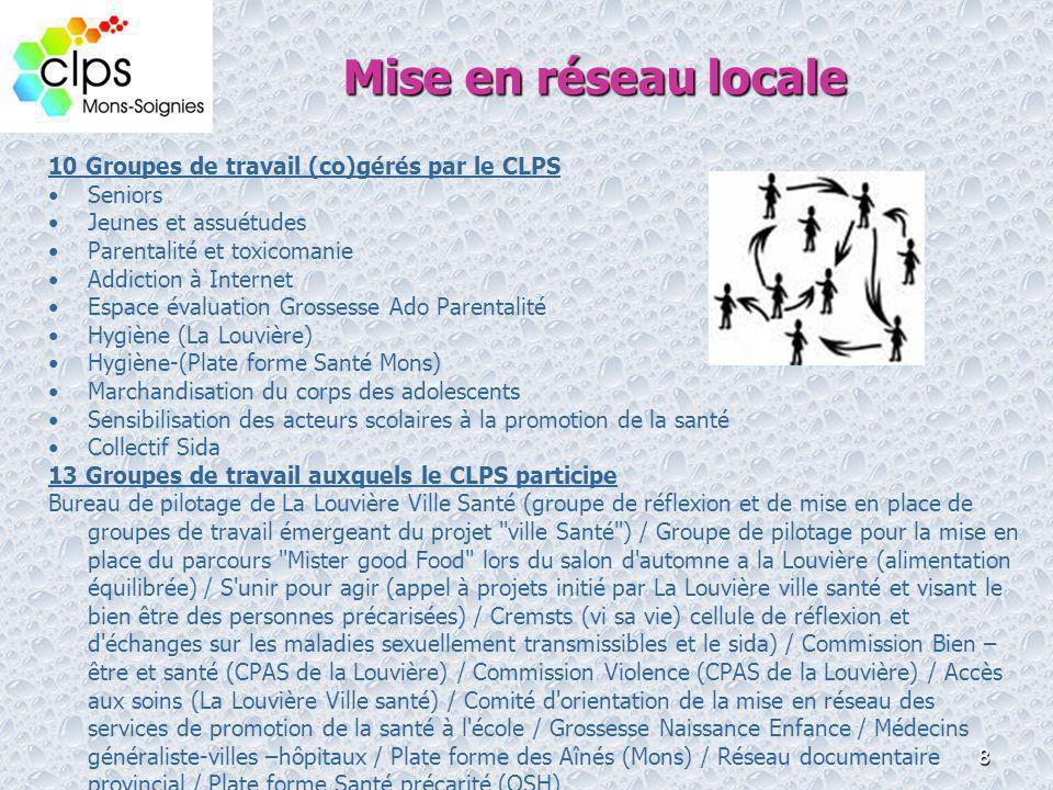 Mise en réseau locale 10 Groupes de travail (co)gérés par le CLPS
