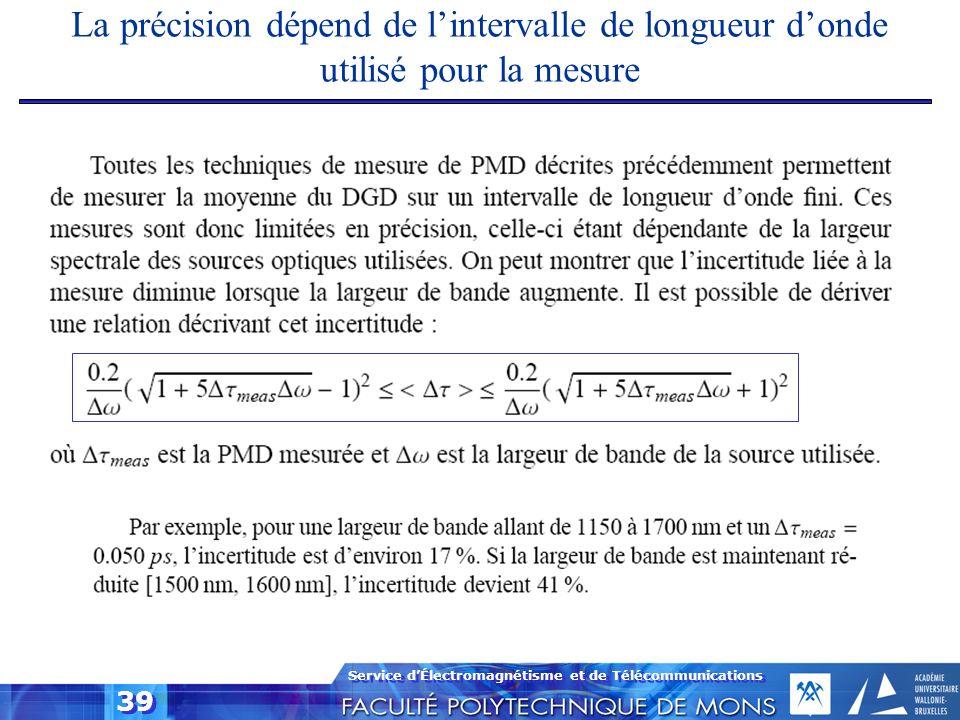 La précision dépend de l'intervalle de longueur d'onde utilisé pour la mesure