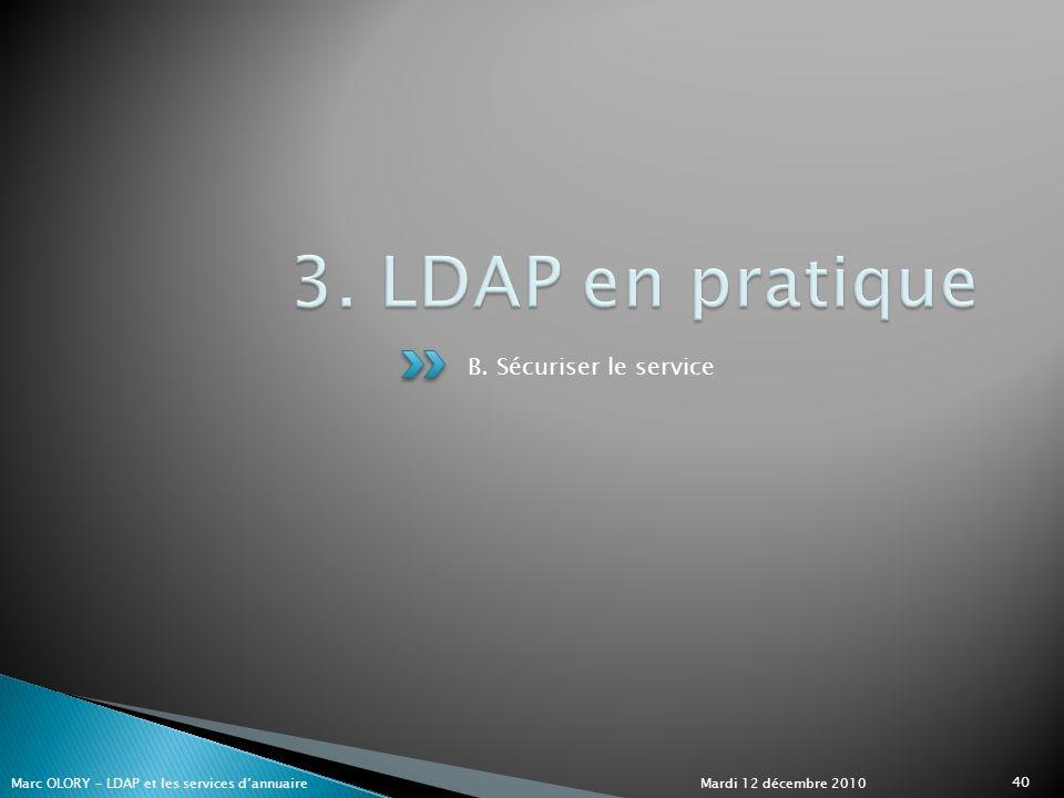 3. LDAP en pratique B. Sécuriser le service