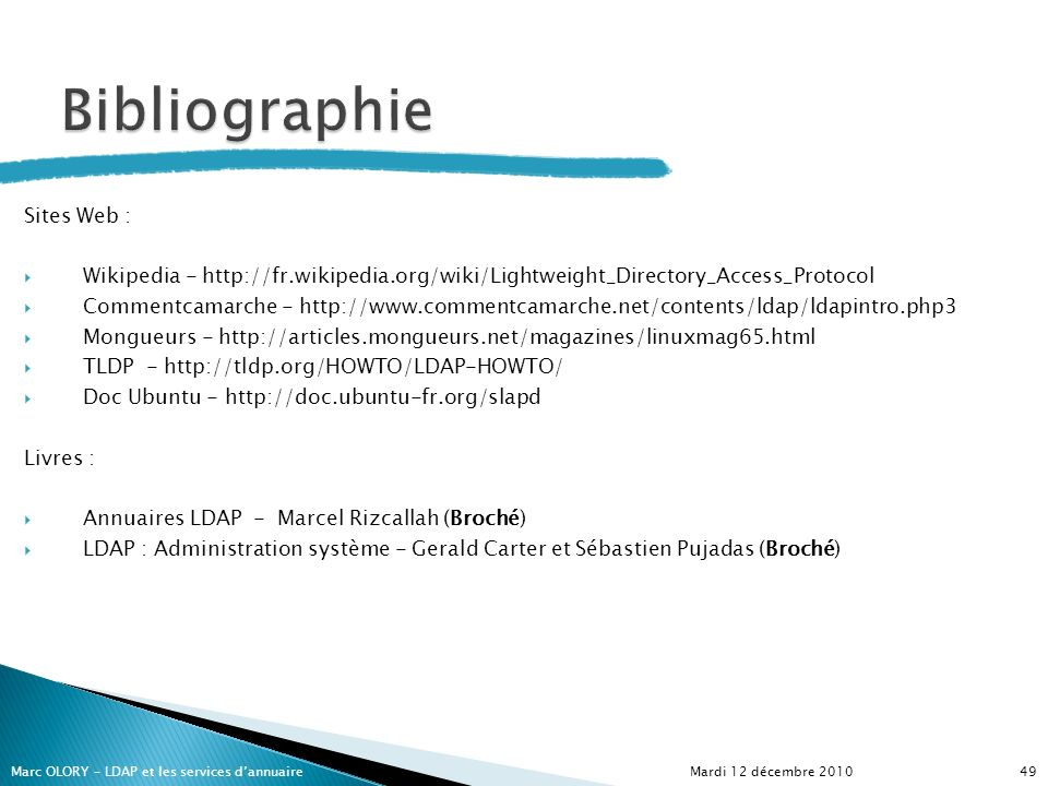 Bibliographie Sites Web :