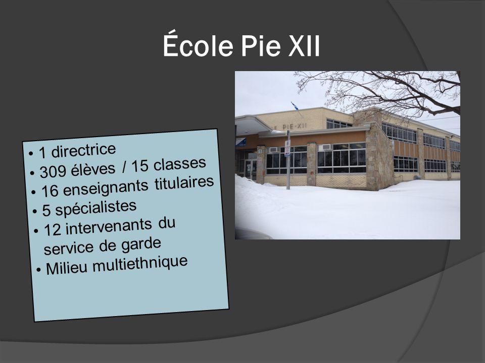 École Pie XII 1 directrice 309 élèves / 15 classes