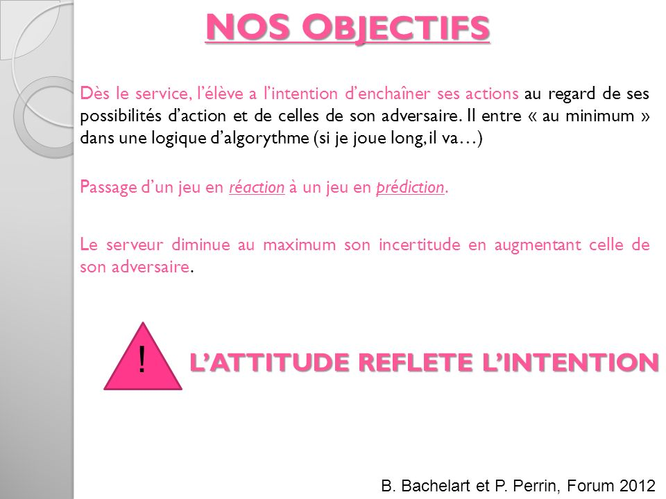 NOS OBJECTIFS ! L'ATTITUDE REFLETE L'INTENTION