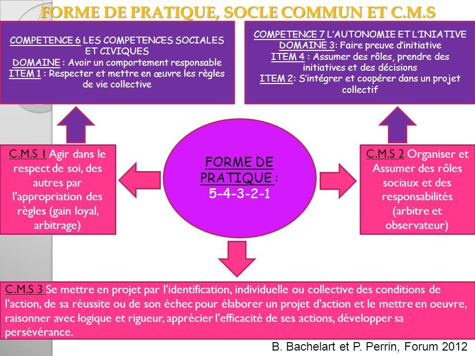 FORME DE PRATIQUE, SOCLE COMMUN ET C.M.S