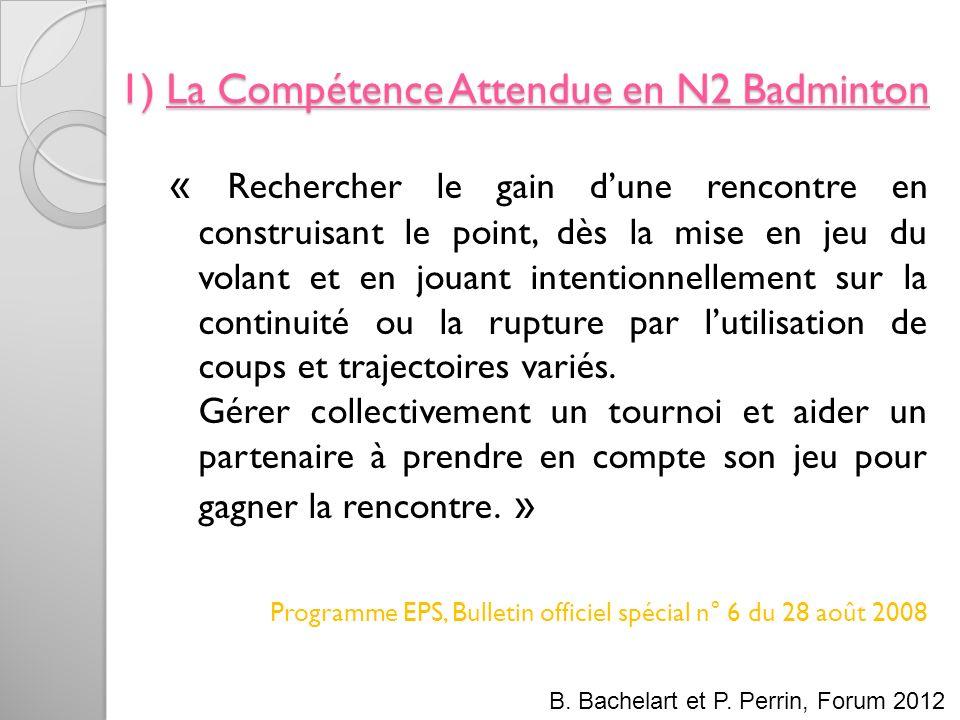 1) La Compétence Attendue en N2 Badminton