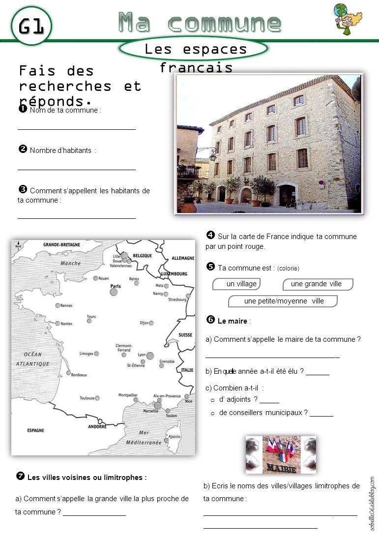 Ma commune G1 Les espaces français Fais des recherches et réponds.