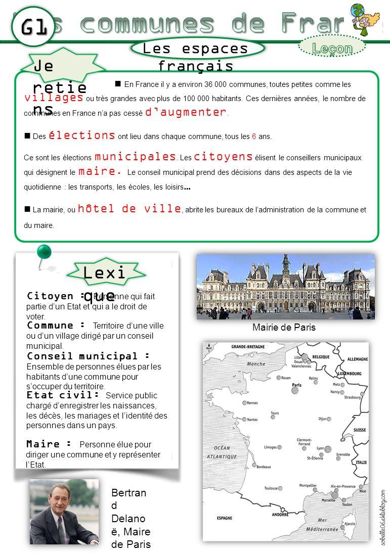 Les communes de France G1 Lexique Je retiens Les espaces français