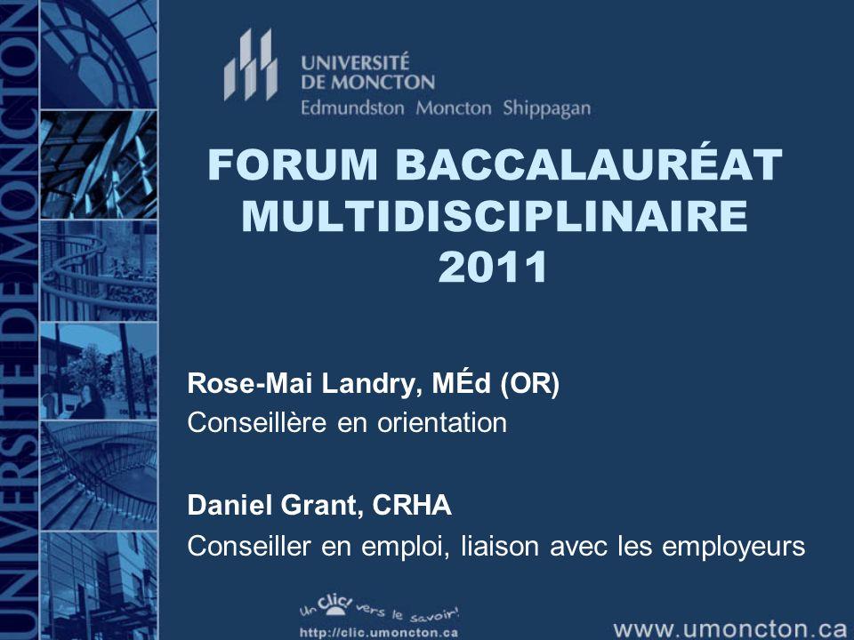 FORUM BACCALAURÉAT MULTIDISCIPLINAIRE 2011