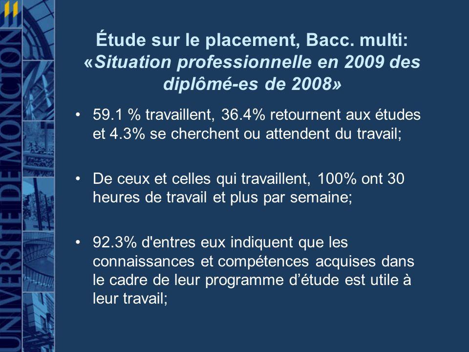 Étude sur le placement, Bacc
