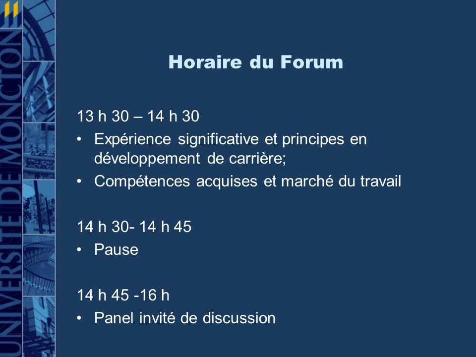 Horaire du Forum 13 h 30 – 14 h 30. Expérience significative et principes en développement de carrière;