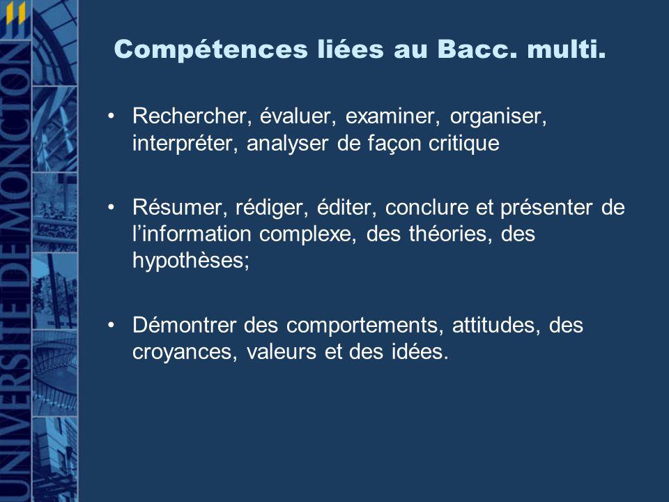 Compétences liées au Bacc. multi.