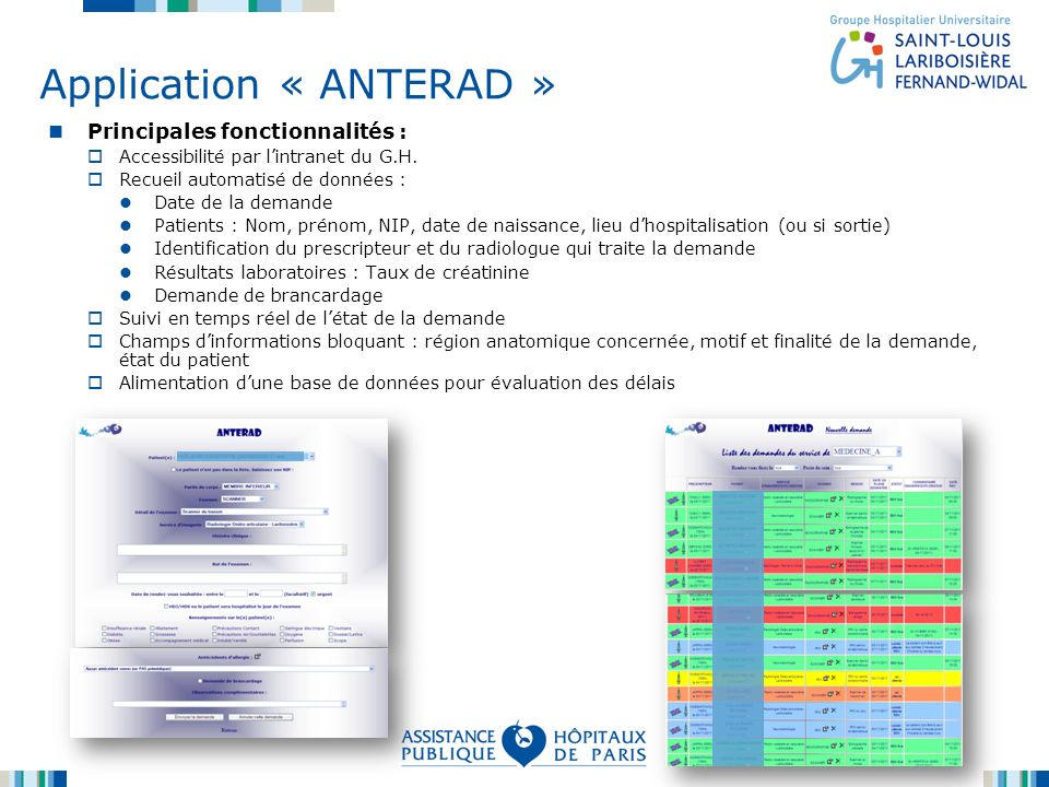 Application « ANTERAD »