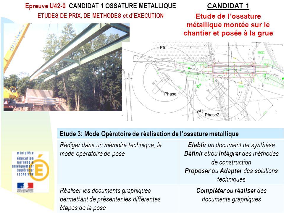 Epreuve U42-0 CANDIDAT 1 OSSATURE METALLIQUE CANDIDAT 1