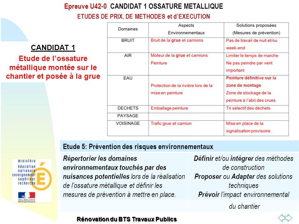 Epreuve U42-0 CANDIDAT 1 OSSATURE METALLIQUE
