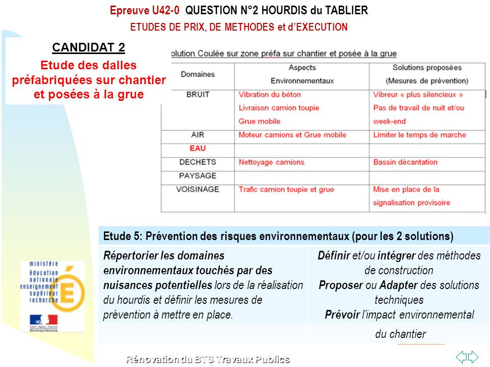 Epreuve U42-0 QUESTION N°2 HOURDIS du TABLIER
