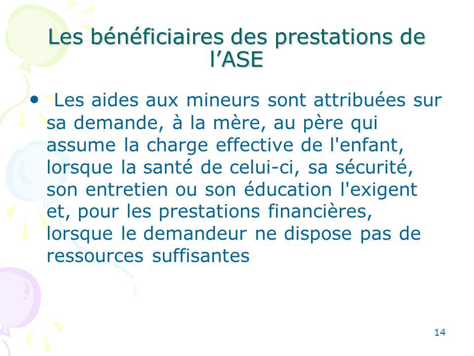 Les bénéficiaires des prestations de l'ASE