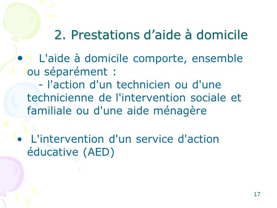 2. Prestations d'aide à domicile