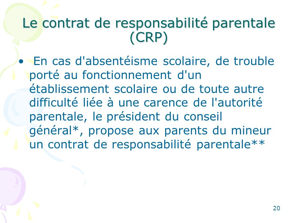 Le contrat de responsabilité parentale (CRP)