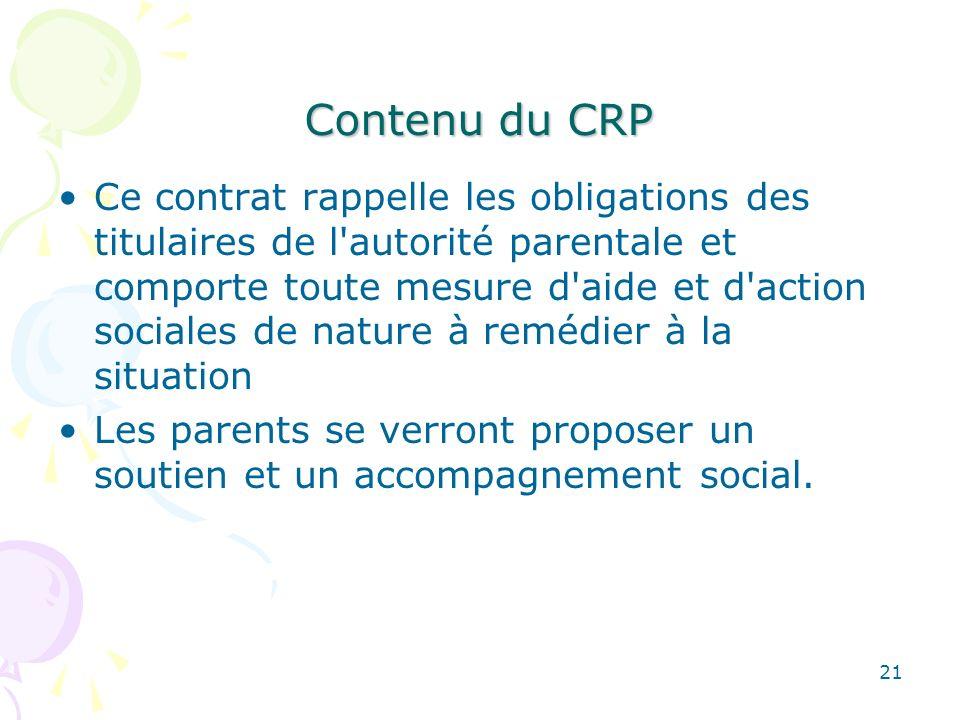 Contenu du CRP