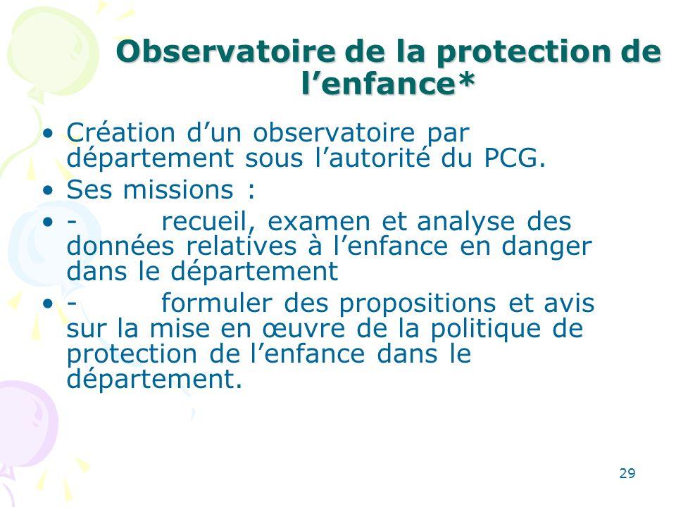 Observatoire de la protection de l'enfance*