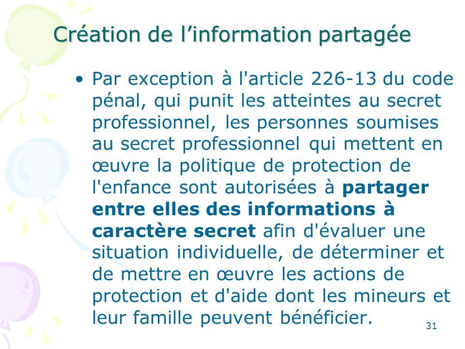 Création de l'information partagée